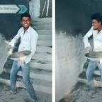 Albañil prende a las redes por mostrar dotes para la mezcla y la bailada (VIDEO)
