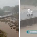 Vendedor conmueve a la red por trabajar bajo la lluvia y en cuarentena (VIDEO)