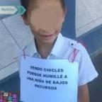 Ponen a niño a vender chicles tras burlarse de una niña de bajos recursos