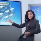 Chica del clima se hace viral por sufrir accidente en pleno programa