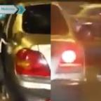 Graban a conductor que abandonó a su perro en la calle