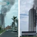 Reportan incendio en torre de Boca del Río, Veracruz (VIDEOS)