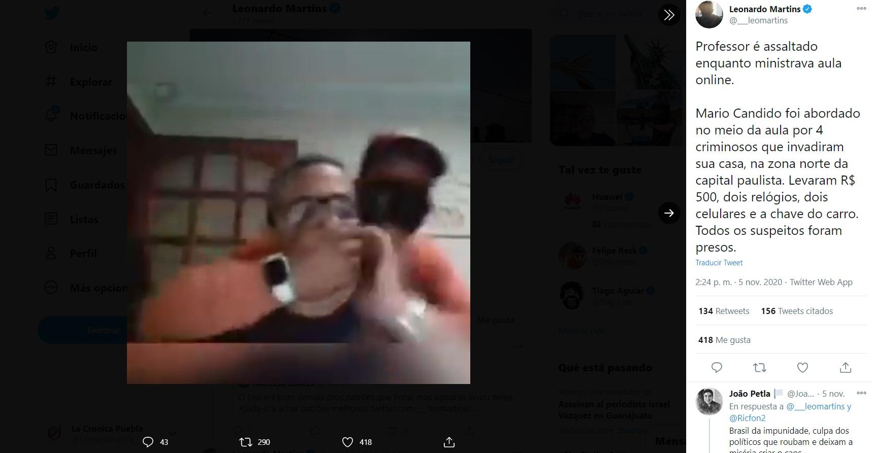 Ladrones asaltan a maestro mientras daba clase online (VIDEO)